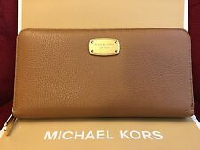 NWT MICHAEL KORS PEBBLED LEATHER JET SET TRAVEL ZIP CONT. WALLET IN ACORN
