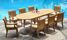 """Giva A-Grade Teak 9 pc Dining 117"""" Oval Table Arm Chair Set Outdoor Patio New"""