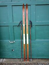 """VINTAGE Wooden 72"""" Skis Has  Brown Finish Signed SPLITKEIN + Bamboo Poles"""