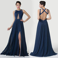 Long Split Evening Bridal Cocktail Formal Banquet Party Ball Prom Attire Dresses