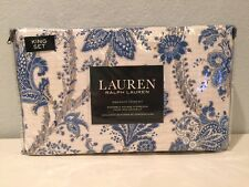 Ralph Lauren Blue White Tan Floral Paisley 3PC King Duvet Cover Pillow Shams Set