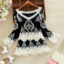 New Fashion Women Summer Loose Long Sleeve Shirt Casual Blouse Lace T-Shirt Tops
