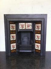 Original Restored Antique Cast Iron Victorian Tiled Insert Fireplace (PK351)