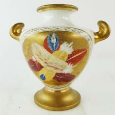 Antico inglese Twin porcellana gestite VASO piume uccelli Gilded SPODE Worcester