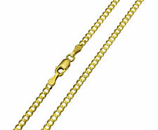 "14K Solid Real Yellow Gold Curb Cuban Chain Necklace 2.7 mm 16"" ( 1/8"" width )"