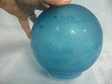 LOVELY VICTORIAN BLUE GLASS GLOBE/SHADE FOR OIL LAMP w/FLORAL & RIBBON DESIGN
