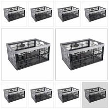 10x 32L PLASTIC FOLDING STORAGE CONTAINER BASKET CRATE BOX STACK EASY FOLD FLAT