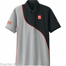UNIQLO x Novak Djokovic 2014 Australian Open M Polo Shirt DRY-EX Gray/Black NEW!