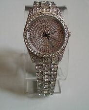 Mens Designer  hip hop CZ Bling clubbing Silver finish rapper style watch