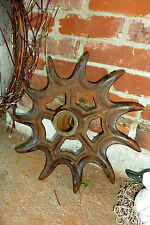 "Antique Cast Iron Rotary Wheel Hoe Farm Cultivator 16""CALKINS Steampunk Machine"