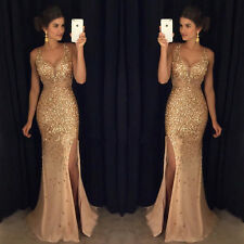 Sexy Crystal Long Formal Evening Dress Mermaid Celebrity Pageant Party Prom Gown