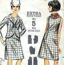 "EASY Vintage 60s Mod DRESS & JACKET Sewing Pattern Bust 36"" Size 12 RETRO Outfit"