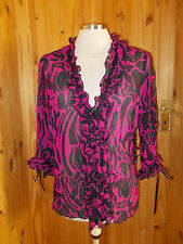 FOSBY DESIGN fuchsia hot pink black chiffon 3/4 sleeve blouse tunic top 14 40