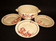 3 ASSIETTE A DESSERT + SALADIER FAIENCE SARREGUEMINES DV DECOR DENISE