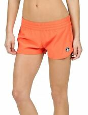 """2016 NWT WOMENS VOLCOM SIMPLY SOLID 2"""" BOARDSHORT $40 S fire red comfy elastic"""