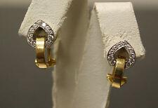Estate 18K White Gold, Yellow Gold & Diamond Omega Back Earrings! Nice!