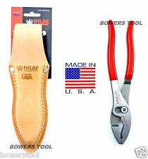 "Wilde Tool Professional Flush Slip Joint Pliers & Leather Pouch 8"" MADE IN USA"