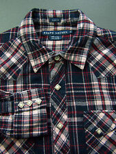 Ralph Lauren Checked Shirt Women's 12 Blue Red Pink Long Sleeved Vintage LSHz277
