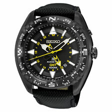 New Seiko SUN057 Prospex Kinetic GMT Black Dial Black Leather Strap Mens Watch