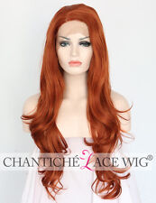 Hot Lace Front Orange Red Synthetic Hair Wigs Long Natural Wavy Heat Resistant