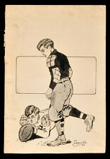 """orig. 1904 FOOTBALL """"PLACE KICKER"""" pen-and-ink DRAWING by ROY GAMBLE (1887-1972)"""