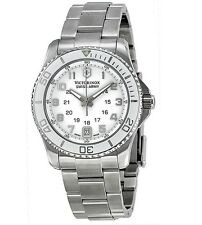VICTORINOX SWISS ARMY $495 WOMENS SILVER SPORTS WATCH,DATE,24 HR MAVERICK 249051