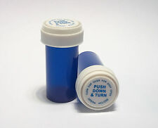 30 Count BLUE : 13 Dram RX Bottles with Reversible Child Resistant Lids