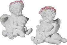 Engel Set 2 Stück Figur 10,5x7,5cm Schutzengel Teddy Rosen Weiß Deko Polyresin