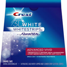 CREST 3D Advanced Vivid Whitestrips White Strips Teeth Whitening w/ Advance Seal