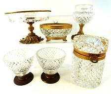 6pcs Antico Vintage cut glass & Bronze / METAL BOX TAZZA CIOTOLA VASSOIO Casket