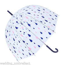Shelta Clear Dome PVC Birdcage Raindrops Pink Purple Rain Umbrella