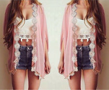 Fashion Women Blouse Summer Casual Coat Lace Flower Loose Kimono Cardigan Jacket