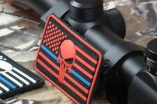 THIN BLUE LINE American Punisher RED Skull Flag Airsoft Morale PVC Velcro® Patch