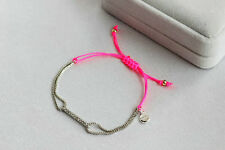 Pink Color White Gold  Plated Dot Pave Wishing  Good Luck Rhinestone Bracelet