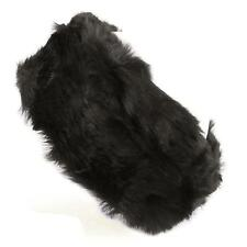 Winter Faux Fur Furry Fuzzy Velour Lined Headwrap Headband Ski Snow Bunny Black