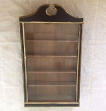 Vintage Wooden Wall Hanging Display Case Curio Cabinet Glass Door - Nice!!!