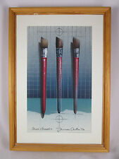 Three Brushes 1996 signed James Carter Original Airbrush Acrylic Board Painting