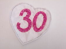 Large Embroidered 30th Birthday Love Heart Scrap Book Card Making Motif #12E32