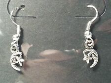 Silver Tone Moon and Star Hook Earrings - Fashion Jewelry
