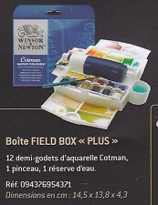 WINSOR ET NEWTON BOITE AQUARELLE FIELD BOX PLUS 12  DEMI GODETS AQUARELLE COTMAN