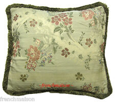 ITALIAN Venetian Floral Sofa/Bed CUSHION/PILLOW CASE Jacquard Woven + Fringe New