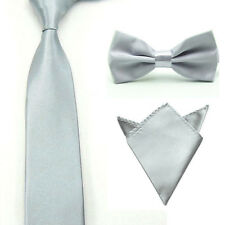 Mens Satin Solid Color Bowtie Bow Tie Necktie Handkerchief Pocket Square Set NEW