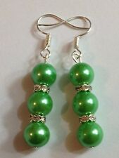 Beautiful 8mm green 3 glass pearl dangle earrings tibet silver rhinestones.