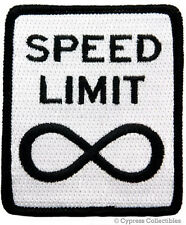 SPEED LIMIT INFINITY iron-on PATCH - HIGHWAY ROAD SIGN embroidered NOVELTY GIFT