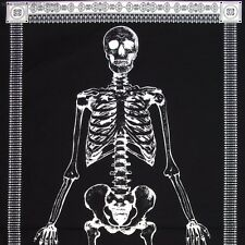 Glow in the Dark Skeleton Panel Timeless Treasures - 24 x 44 black white fabric