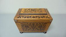 BEAUTIFUL 19th CENTURY ANTIQUE ENGLISH INLAID TEA CADDY BOX, UNUSUAL WOOD