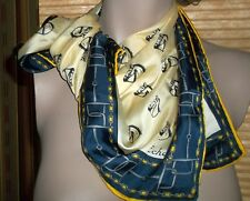 Equestrian Horses Scarf 23 Inch ECHO Horseheads Bits Yellow Blue