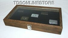 Rustic Antique Brown Color Glass Top Display Case Holds 20 Lighters