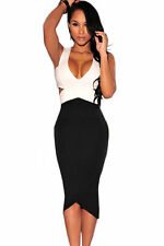 Black White Sexy Cut-Out Patchwork Night Club Midi Dress