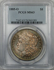 1885-O Morgan Silver Dollar $1 Coin PCGS MS 63 Toned (BR-18 N)